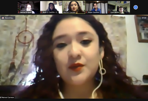 Marisol Carreon in a Zoom meeting with Prof. Kripper's Class
