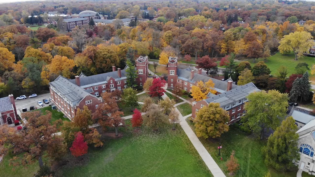 An aerial view of Lake Forest College