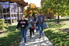 Jamie Williams '16 (left) took her aunt and uncle, Shawn and Jaike Williams '77, on a tour of campus over Homecoming Weeke...