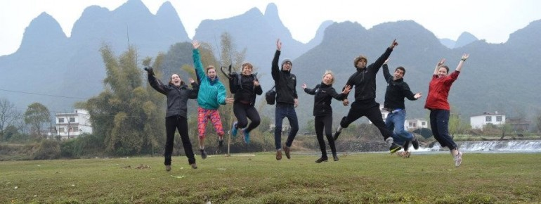 Lake Forest Students at China's famed Karst Mountains in Guilin.