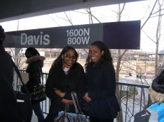 Neuroscience majors Kim Diah '13 and Alexus Edmonds '13 waiting for the Evanston Express at the Davis St