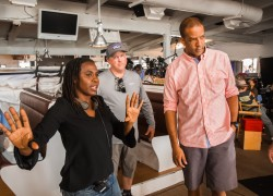 Hanelle M. Culpepper '92 on set.