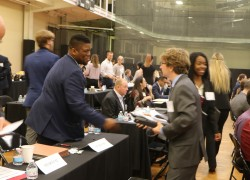 Students met one-on-one with professionals during Speed Networking 2019. —Photo by Hannah Strassburger '20