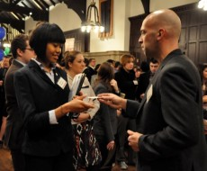 Student networks with alum at last semester's Get Hired event.