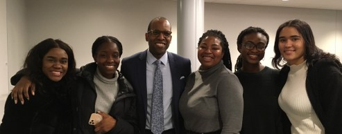 Martino Moore '99 (center) shared his insights into networking skills and developing a successful career search.