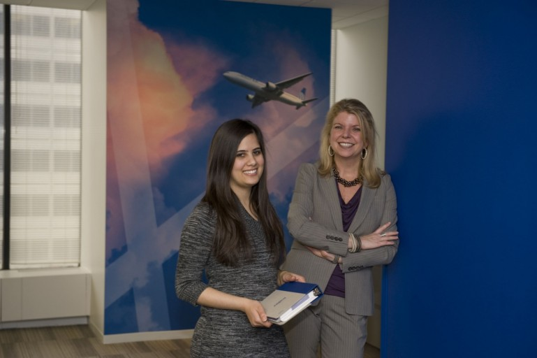 Student Shivani Jethwa (left) with her supervisor during her internship at United Airlines.