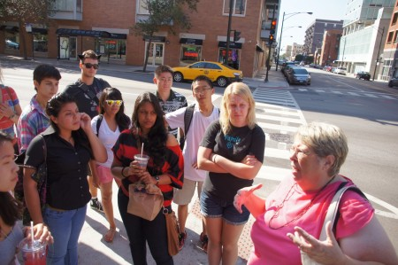Professor Elizabeth Fischer gives the students some information about the Fulton Market neighborhood.