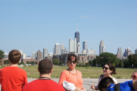 Professor Amanda Felkey talks to her students while on their trip to the Cabrini Green neighborhood in Chicago.