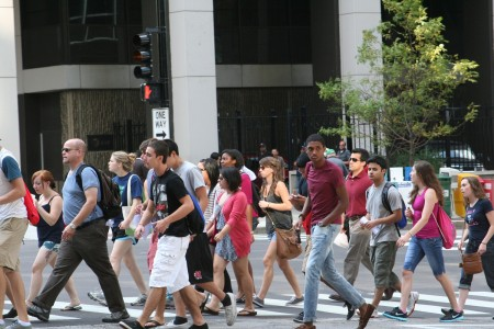 Guided by Professor Jim Marquardt, students cross the busy streets of Chicago.