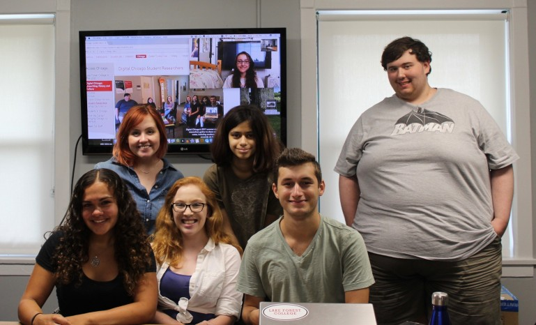 Digital Chicago's 2017 summer student researchers gather to share research notes, including students joining remotely via FaceTime.