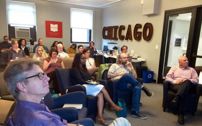 Faculty and staff gather in the Center for Chicago Programs for the Digital Chicago Seminar.