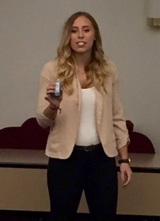 Sydney Gardner '18 won first place in the all-campus elevator pitch competition and earned the opportunity to