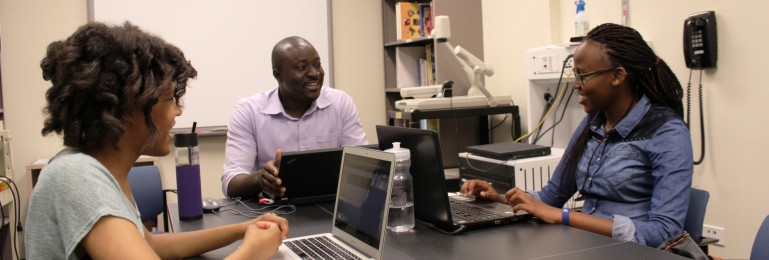 Prof. Odugu working with Richter Scholars