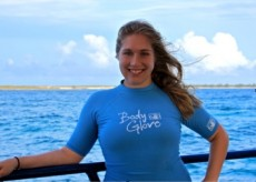 Hilary Wind '14 aboard the R/V Coral Reef II in the Exumas, Bahamas