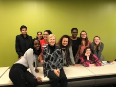 "Prof. Cynthia Hahn and Dr. Evelyne Accad with FREN212 ""Advanced Intermediate French: Literary Emphasis"" class"