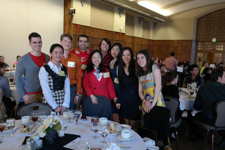 Professor Ying Wu celebrates with her students who won third prize at the Midwest Chinese Speech Contest.