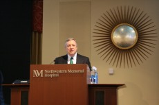 U.S. Senator Dick Durbin visits with the Chicago neuroscience community yesterday at the 2014 CSfN meeting and presents th...