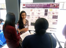 Neuroscience and biology junior Khadijah Hamid '16 presents her Parkinson's disease research to other scientists at the GL...