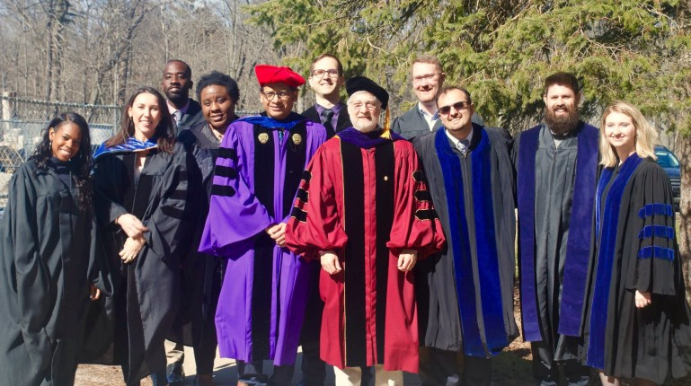 Neuroscience faculty in graduation robes