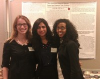 Professor Long with her research assistants, Deeya Jhummon `15 and Winta Yohannes `15 at the Midwestern Psychological Association Conference, May, 2013. Deeya and Winta presented their Richter project results, How homeless battered women protect and support their children.