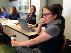 Students attending the first women in business support group meeting were encouraged to share their concerns.