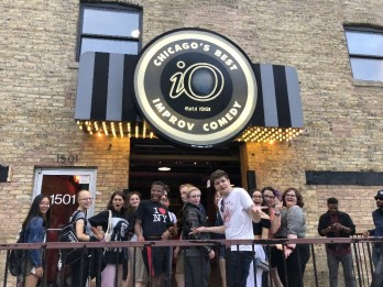 An energetic performance at the Improv Olympics theater