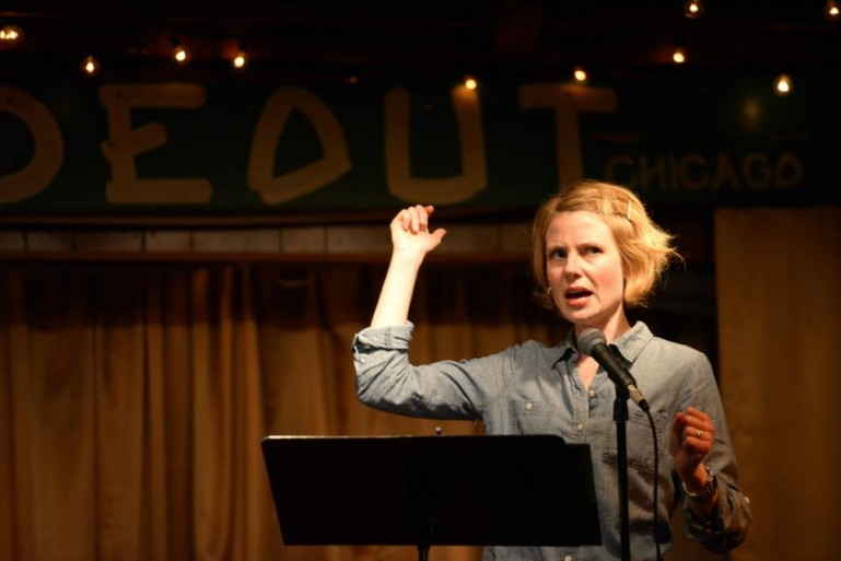 Professor Johnston performs at Write Club, one of Chicago's most popular literary events.