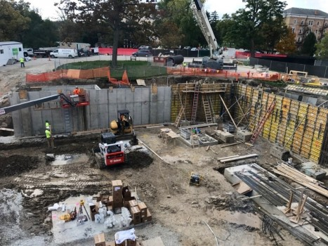 After the excavation for the addition was completed, concrete forms were then installed for the foundation construction. (Photo taken October 16, 2016)