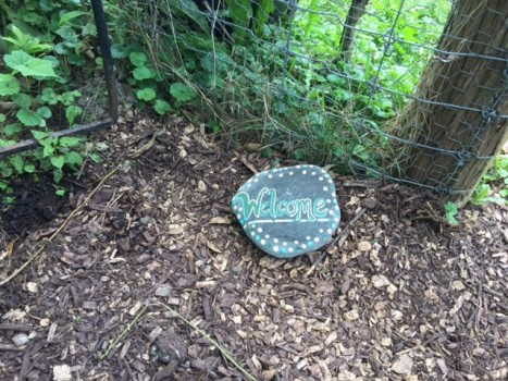 Lake Forest College Student Garden at Glen Rowan welcome stone