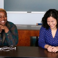 Richter Scholars Kgotla Mmopi '20 (left) and Hajar Habbal '20 managed to have a good time breaking down the data ...