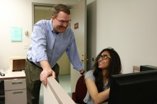 Sushmeena Parihar '20 (right) is working with Professor of Psychology Matthew Kelley to research counterintuitive cognit...