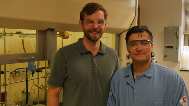 Assistant Professor of Chemistry Paul Gladen and Omer Sadat '21