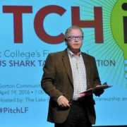 Dean DeBiase discusses the rules of competition at Lake Forest College's 2016 Pitch it! event at Gorton Community C...
