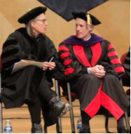 President Schutt (Right) and Commencement 2018 speaker Jane Hamilton