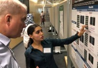 Ariane Balaram '20 presents her pharmacology poster at the GLC-ASPET meeting.