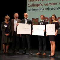 Director of Entrepreneurship and Innovation Darlene Jaffke (from left), emcee Dean DeBiase, and winners Charles Black '16,...