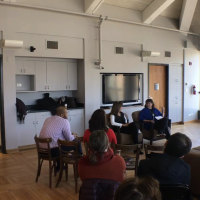 Sally Lapidus '77 and Chrisann Verges '78 talk to students about their time at and since Lake Forest College.