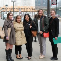 Ellie Shuda '16 (from left), Andrea Ramirez '15, Miriam Vega '16, Hailey Hart '17, and Casey Hartfiel '17 met with Chicago...