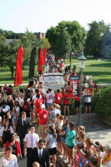 Students, faculty, and staff lined the walkways to welcome the newest members of the Forester Family.