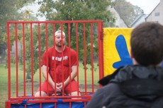 T.R. Bell, women's soccer coach, was one of six faculty and staff members who agreed to be dunked.