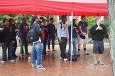 The rainy day did not stop students from watching their coaches, professors, and staff members get soaked.
