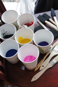 The paintings were very involved and required many colors and types of brushes.