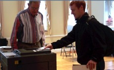 Sam Herrmann '15 of Vermont voted at the Gorton Community Center in Lake Forest.