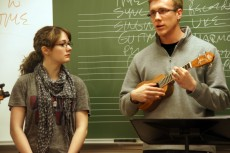 Students also taught how to properly hold the instrument and strum it.