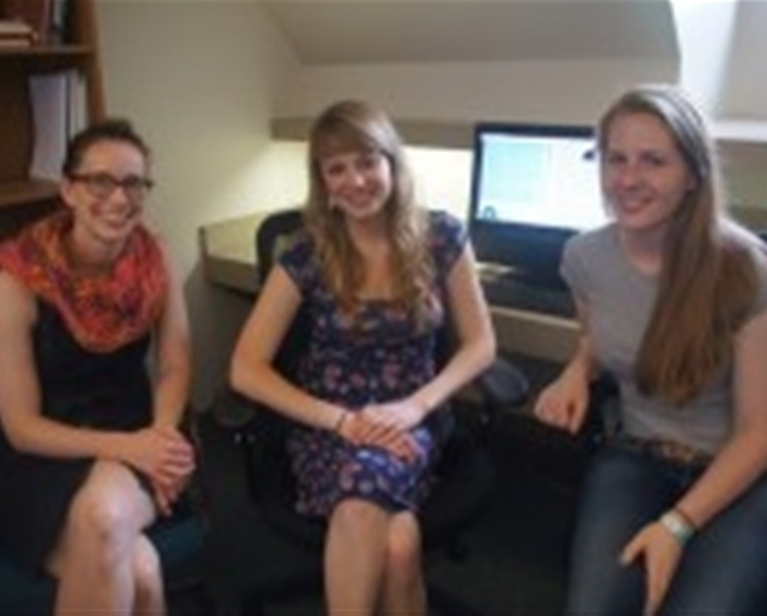 Assistant Professor of Psychology Susan Long (left) worked with Richter Scholars Maria Naumann '16 and Erin Sully '16 ...