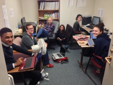The Adulthood Project research team piles into the lab to code data on a cold and rainy day.