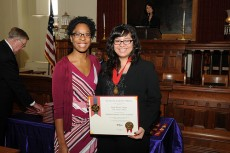 Vargas (right) and Leslie Turner, assistant director of the Office of Intercultural Relations, at the awards ceremony