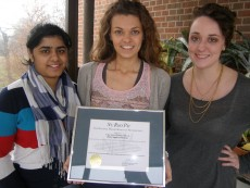 (From left) Vice President Rida Khan '14, President Vicky Egedus '14, and Secretary Kayla Huber '16 of the College's...