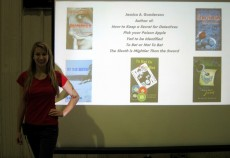 Jessica Gunderson '16 tours local elementary and middle schools and libraries to promote her young adult mystery series.