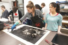 Together with students from Lecturer Betsy Odom's Installation Art class, McQuillen produced 60 monoprints and cut them ...